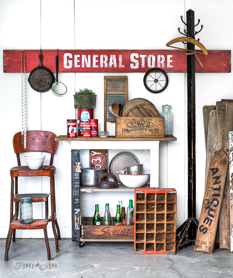 How to make an antique-looking General Store sign with stencils! Tips on how to age with wax included. Click for full tutorial. #stencils #signs #vintage #fusionmineralpaint