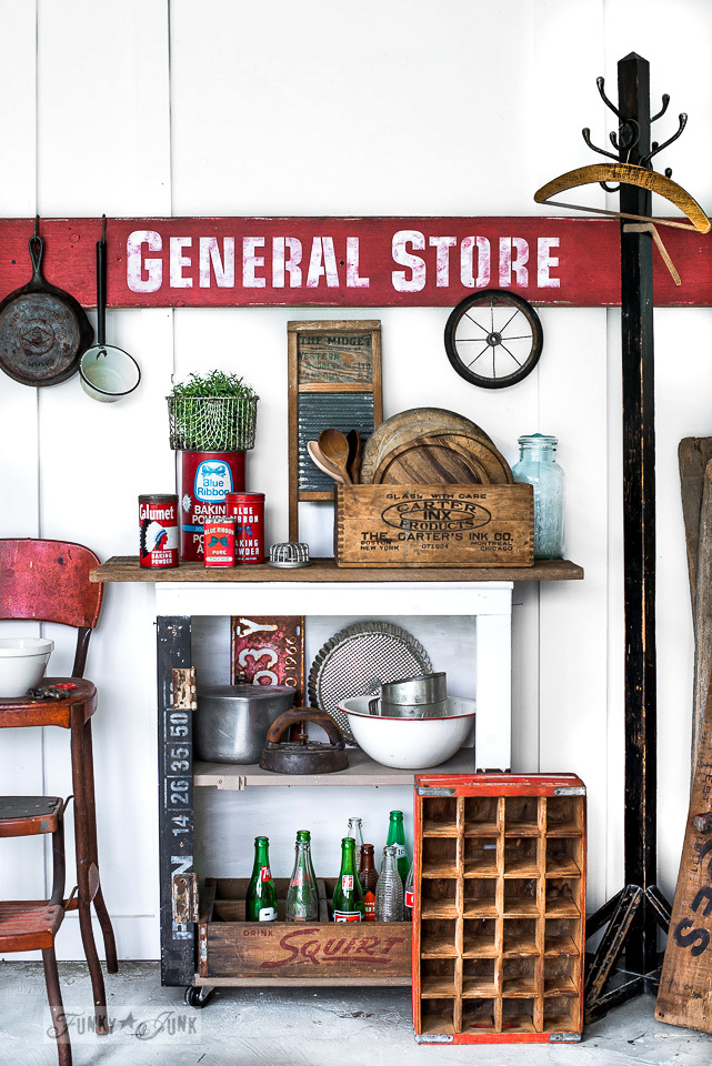 Learn how to make this antique General Store sign with fabulous antiquing tips! Click to full tutorial. #signs #vintage #generalstore #stencils