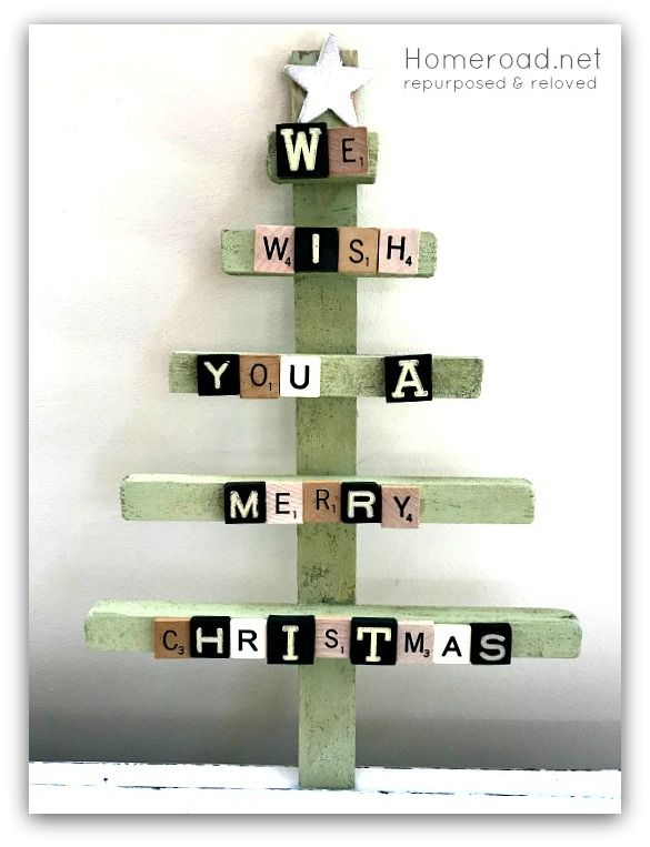 Scrabble tile Christmas Tree by Homeroad, featured on Funky Junk Interiors