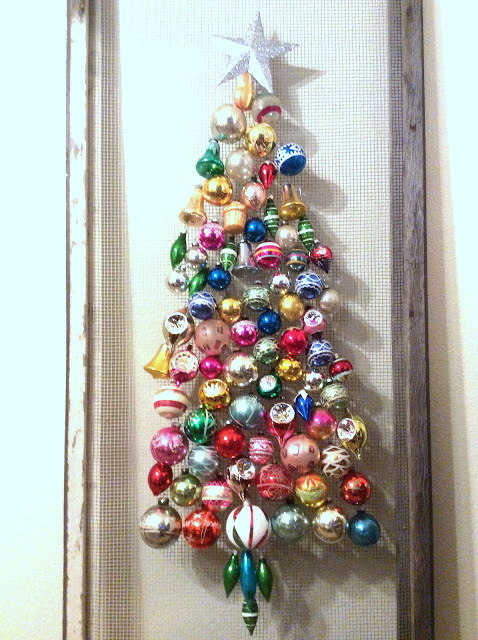 Shiny Brites Christmas tree on a screen by Fresh Vintage by Lisa S, featured on Funky Junk Interiors