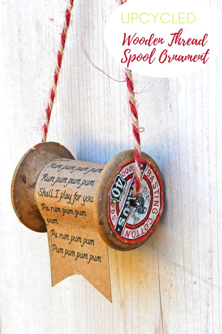 Vintage spool Christmas scroll ornament by Pillar Box Blue, featured on Funky Junk Interiors