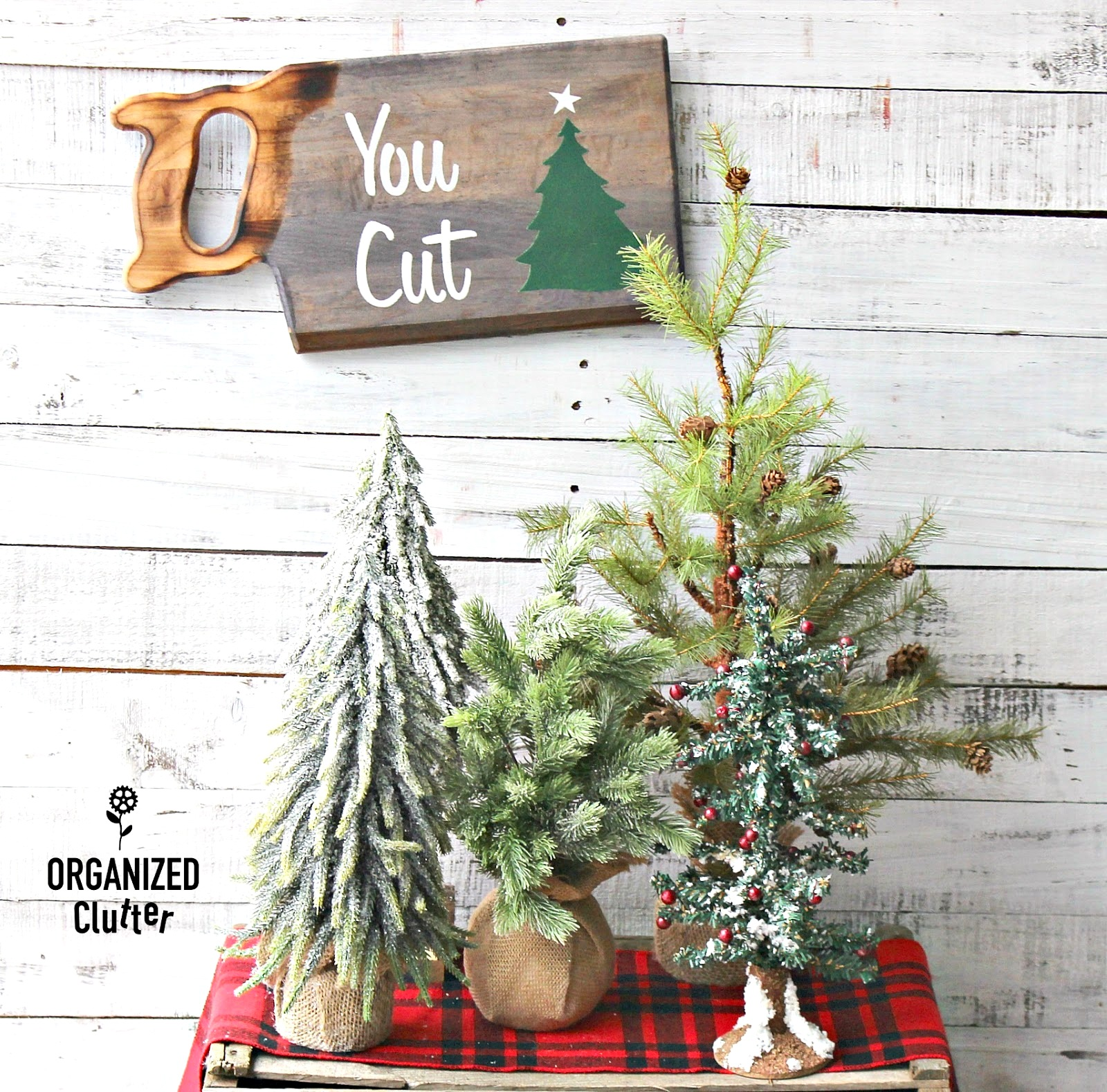 You Cut Christmas tree saw sign from a cutting board by Organized Clutter, featured on Funky Junk Interiors