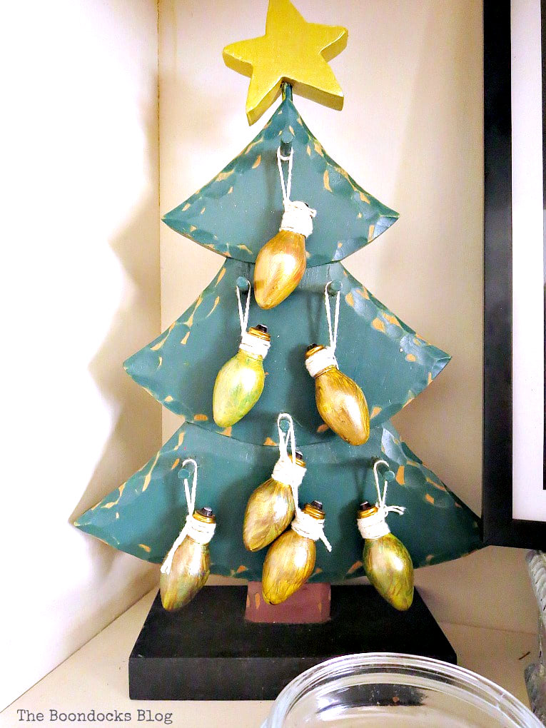 Mini wooden Christmas tree with light ornaments by The Boondocks Blog, featured on Funky Junk Interiors
