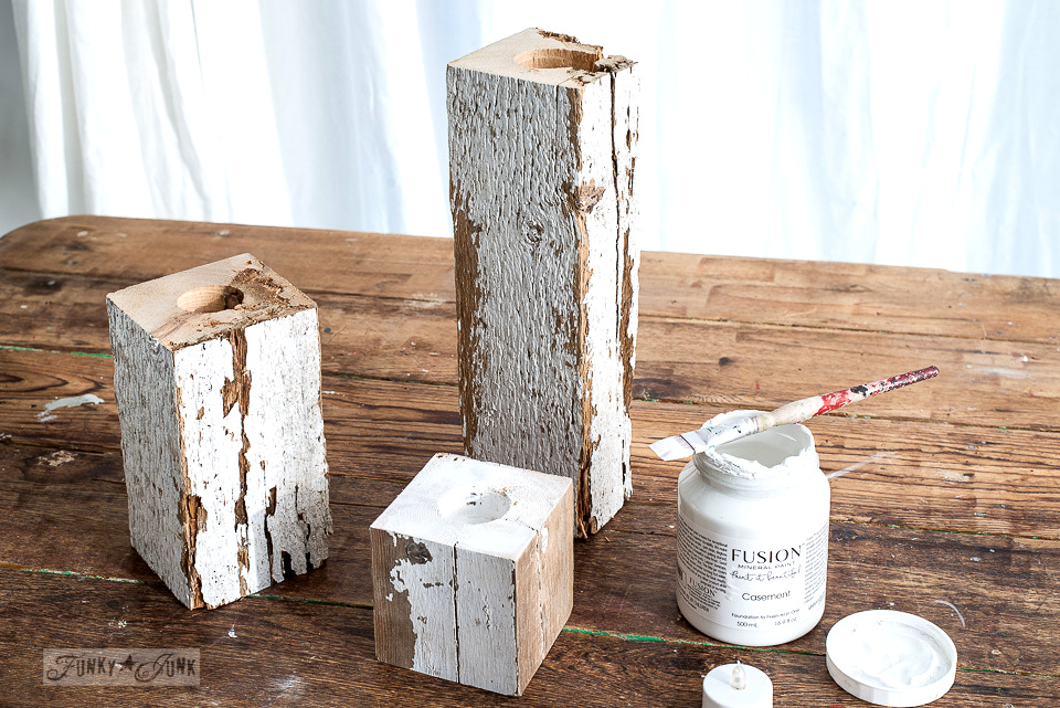 Painting Fusion's Casement on the tops of the wood candle cuts - To make easy and safe rustic wood Christmas candles with a snowflake shelf using faux tealights!