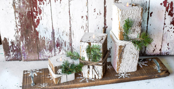 reclaimed wood faux candles with snowflake shelf-002