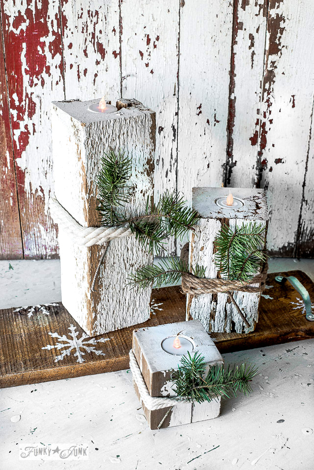 Make these easy and safe rustic wood Christmas candles with a snowflake shelf using faux tealights! With Funky Junk's Old Sign Stencils and Fusion Mineral Paint