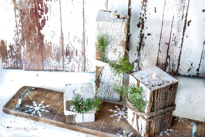 reclaimed wood faux candles with snowflake shelf-004