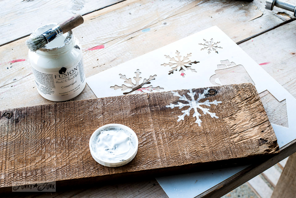 Stenciling with Winter Graphics snowflakes from Funky Junk's Old Sign Stencils in Fusion's Casement - To make easy and safe rustic wood Christmas candles with a snowflake shelf using faux tealights!