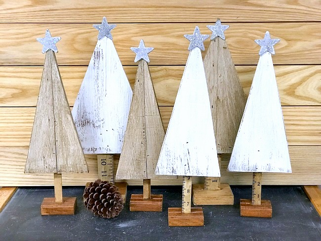 Scrap wood Christmas Trees by Homeroad, featured on Funky Junk Interiors