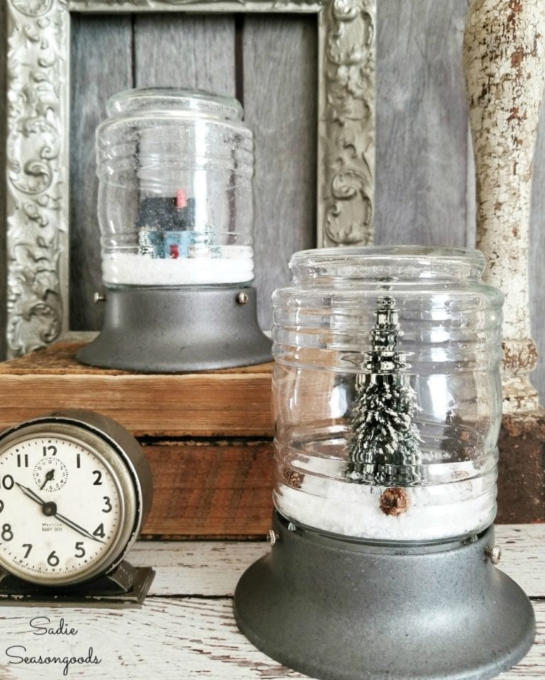 Industrial light snow globes by Sadie Seasongoods, featured on Funky Junk Interiors