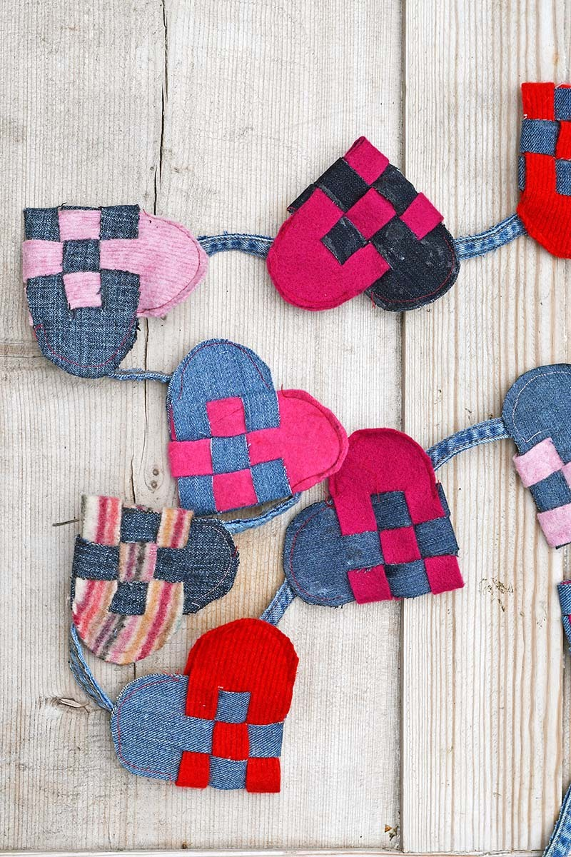 Denim and felt Scandinavian heart garland by Pillar Box Blue, featured on Funky Junk Interiors