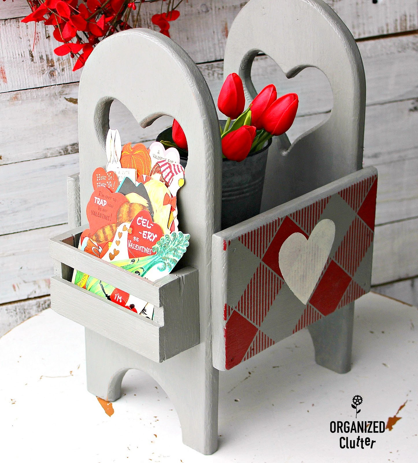 Buffalo Checked Valentine's Day caddy for flowers and cards by Organized Clutter, featured on Funky Junk Interiors