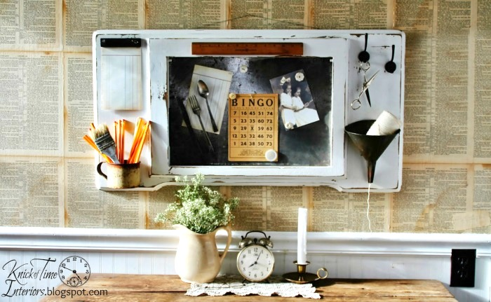 Sewing machine top magnetic message board by Knick of Time, featured on Funky Junk Interiors