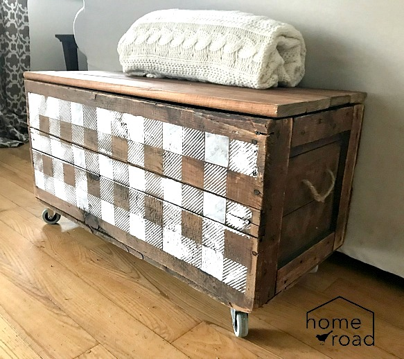 Buffalo Checked antique crate rolling storage by Homeroad, featured on Funky Junk Interiors