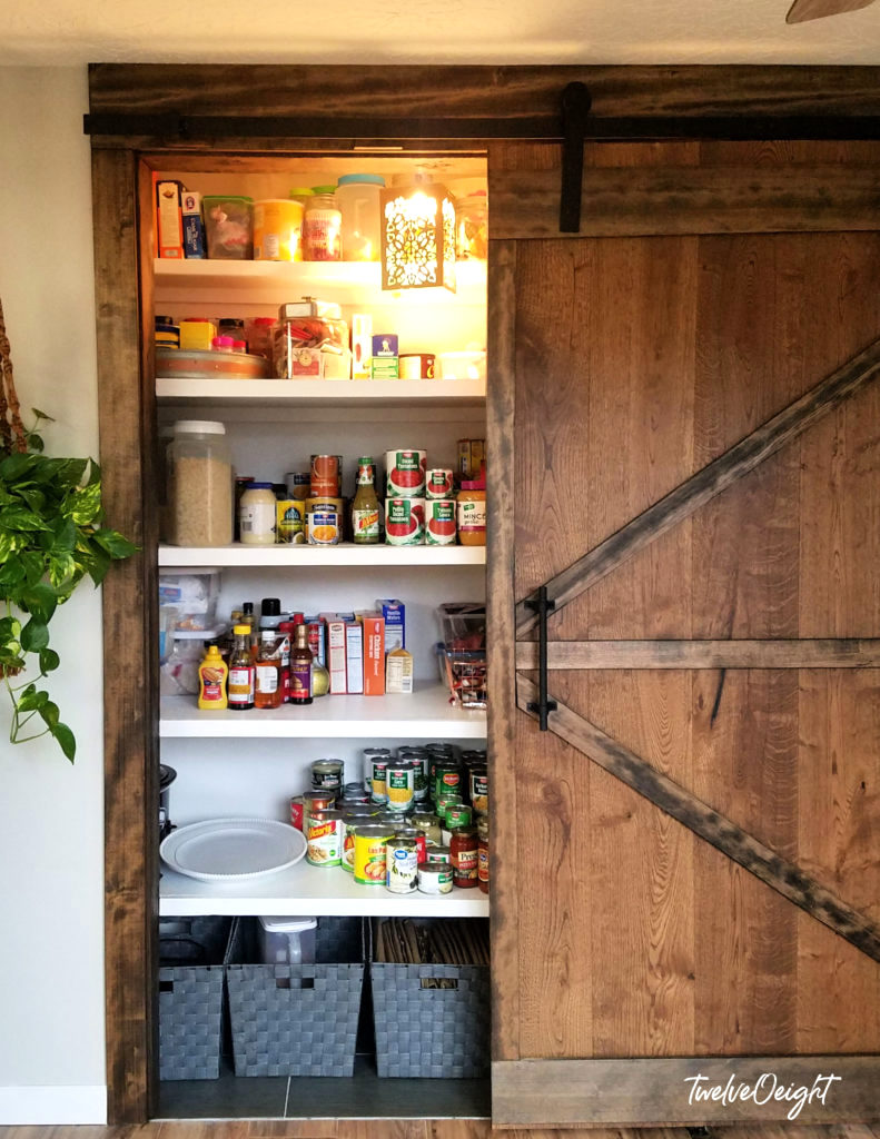 Sliding barn door for a pantry by Twelve O Eight, featured on Funky Junk Interiors
