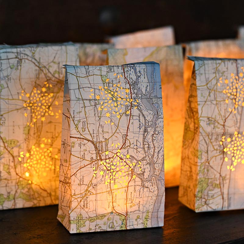 Map luminary bags by Pillar Box Blue, featured on Funky Junk Interiors