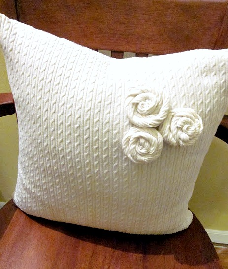 How to make sweater roses by Homeroad, featured on Funky Junk Interiors