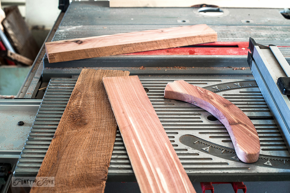 How to hand make a table saw push stick out of red cedar - shaped with a jigsaw.