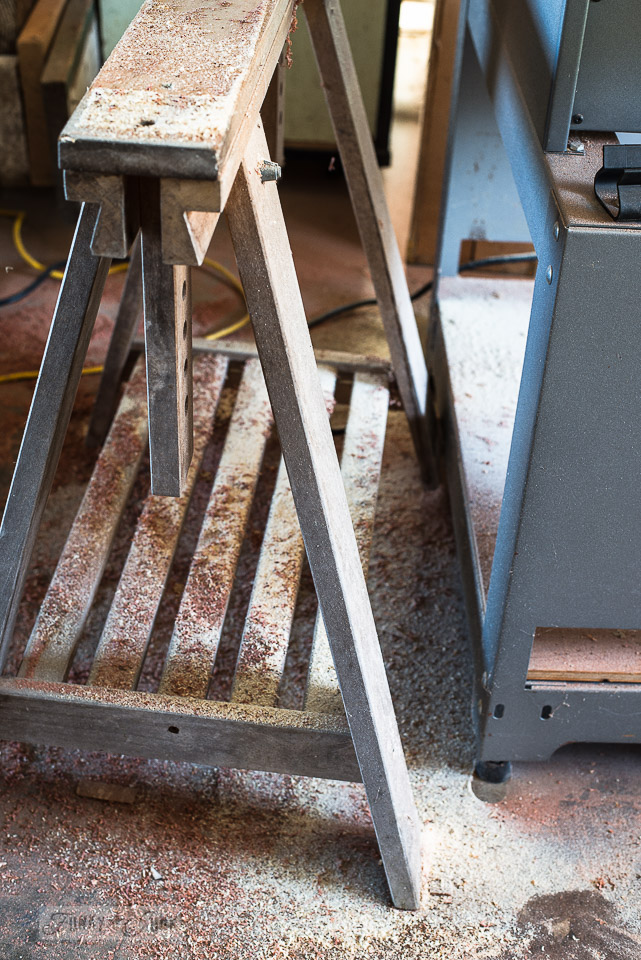 Sawdust on the sawhorse, thanks to a table saw finally in action!