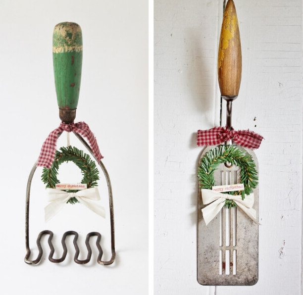 Ways to hang mini Christmas wreaths by Adirondack Girl At Heart, featured on Funky Junk Interiors