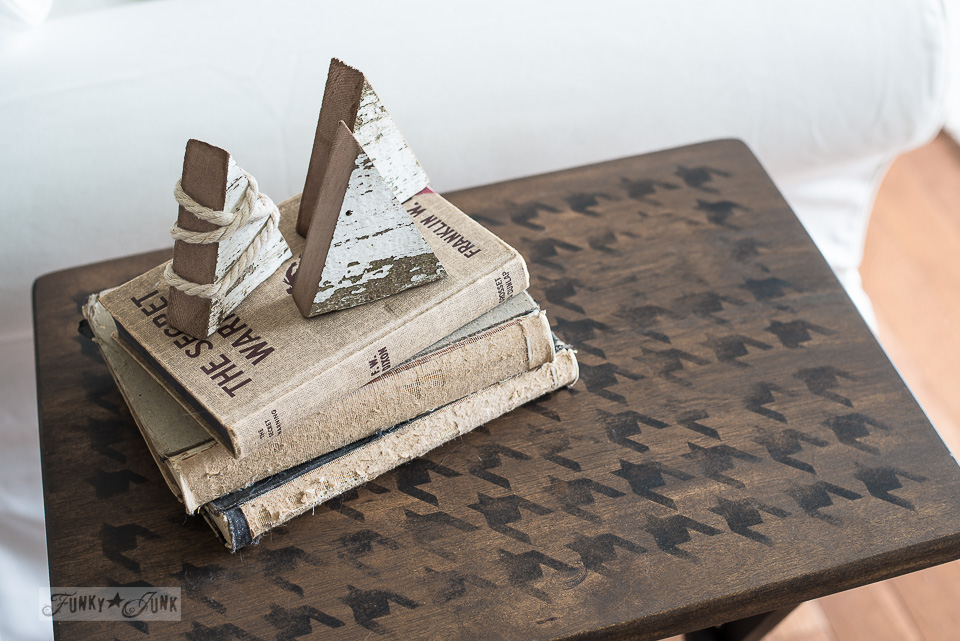 wood scrap winter trees on neutral books and houndstooth stenciled tv tray