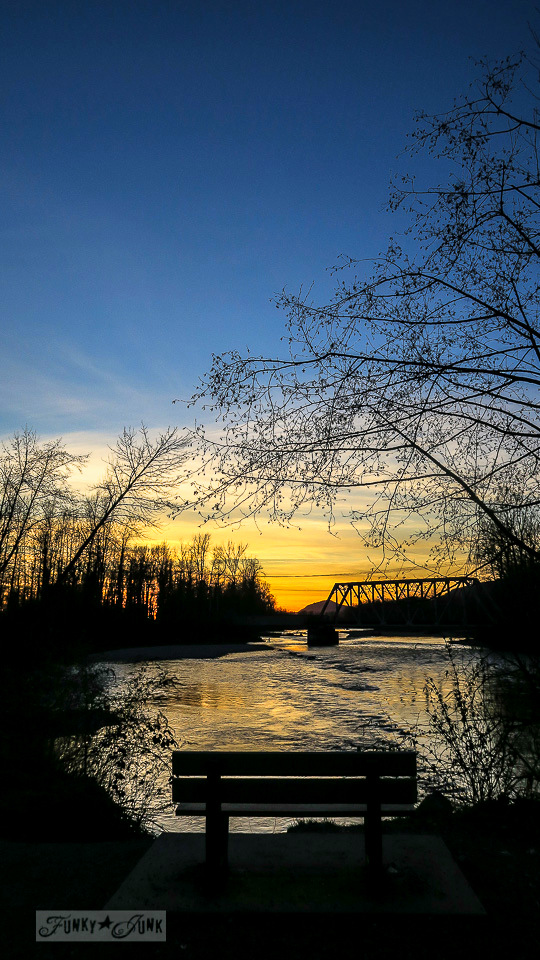 Sunset facing the Vedder River along the Vedder River Rotary Trail in Chilliwack, British Columbia, Canada