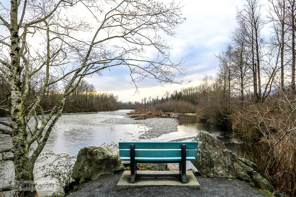 Bench with an outstanding view along the Vedder River along the Vedder River Rotary Trail in Chilliwack, British Columbia, Canada