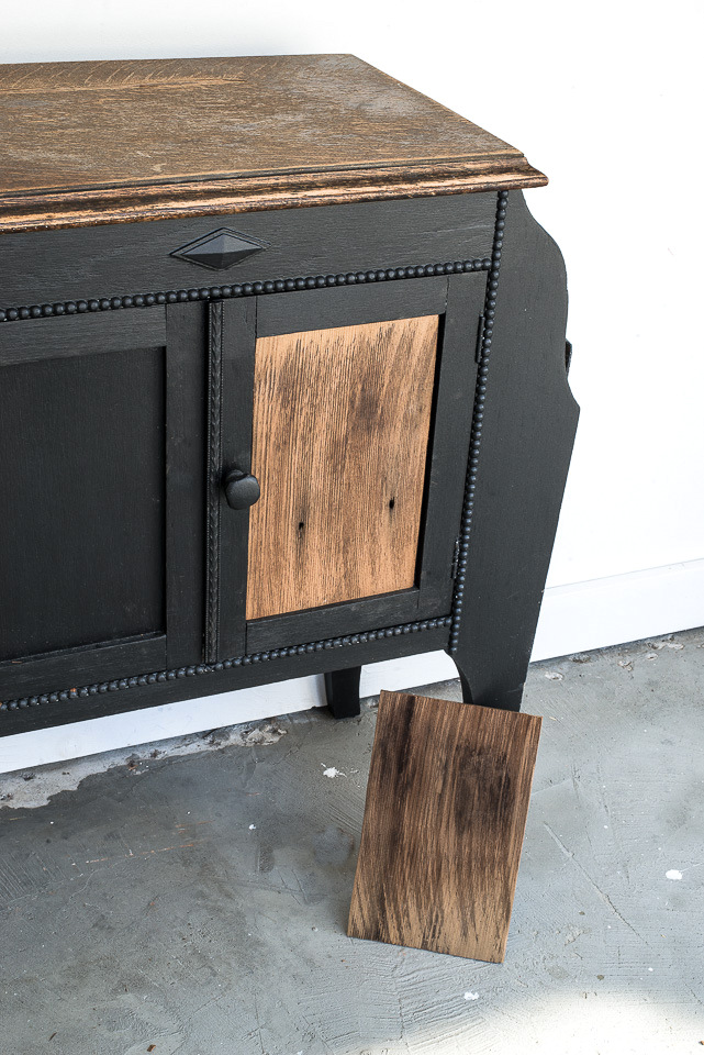 Learn how to DIY this unique vintage side table makeover with wood Houndstooth door panels using a houndstooth stencil and shingles! Stencil from Funky Junk's Old Sign Stencils