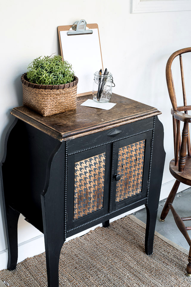 Learn how to DIY this unique vintage side table makeover with wood Houndstooth door panels using a houndstooth stencil and shingles! Stencil from Funky Junk's Old Sign Stencils and Fusion Mineral Paint.