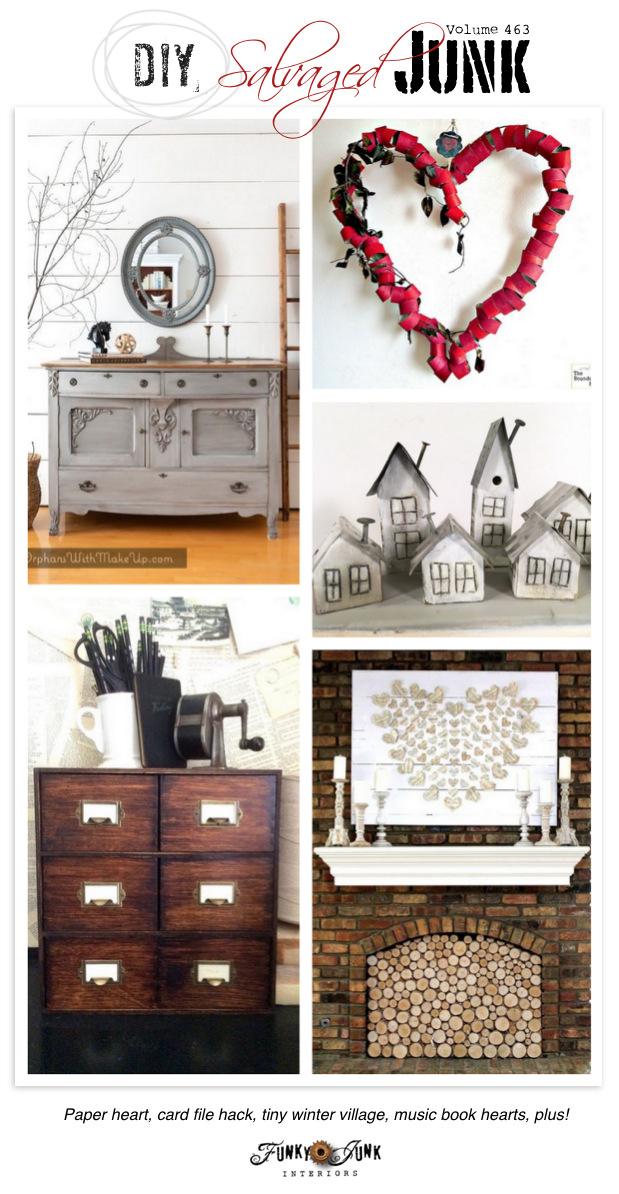DIY Salvaged Junk Projects 463 - Paper heart, card file hack, tiny winter village, music book hearts, plus! Showcasing new up-cycled projects.