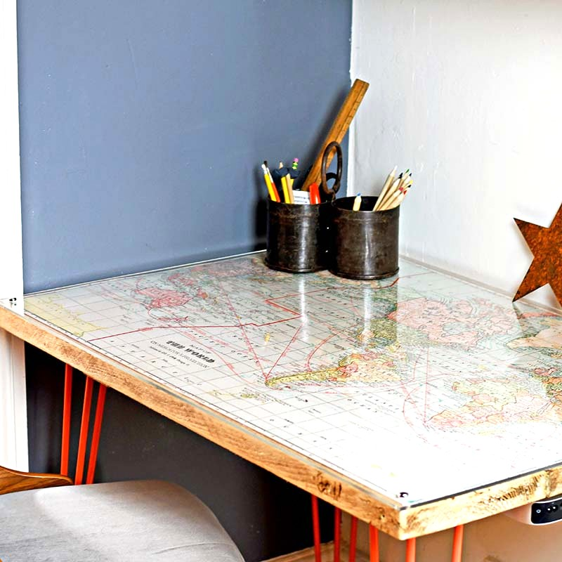 Map topped desk by Pillar Box Blue, featured on Funky Junk Interiors