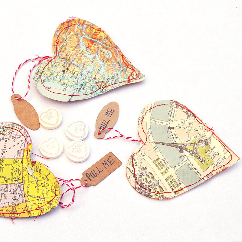 Valentine's Day map treat-filled map hearts by Pillar Box Blue, featured on Funky Junk Interiors
