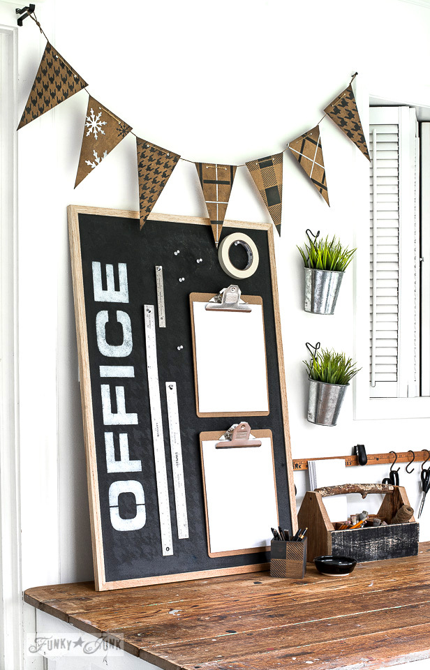 Learn how to create cheater chalk art on a cheater chalkboard with stencils and paint on this upscale Houndstooth Office bulletin board with paint and Funky Junk's Old Sign Stencils! #office #stencils #fusionmineralpaint #oldsignstencils #chalkart