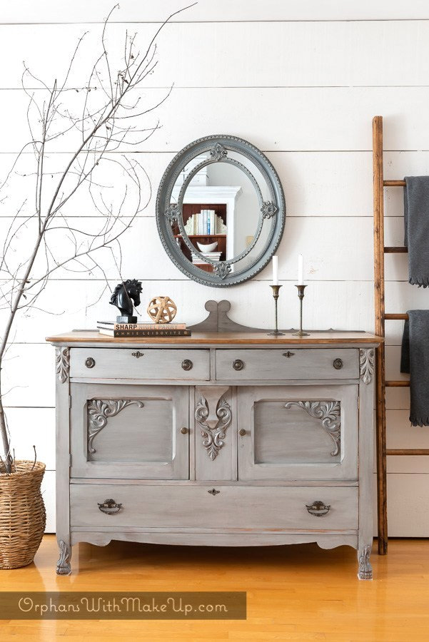 How to flip furniture like a pro showcasing a grey painted dresser by Orphans with Makeup, featured on Funky Junk Interiors