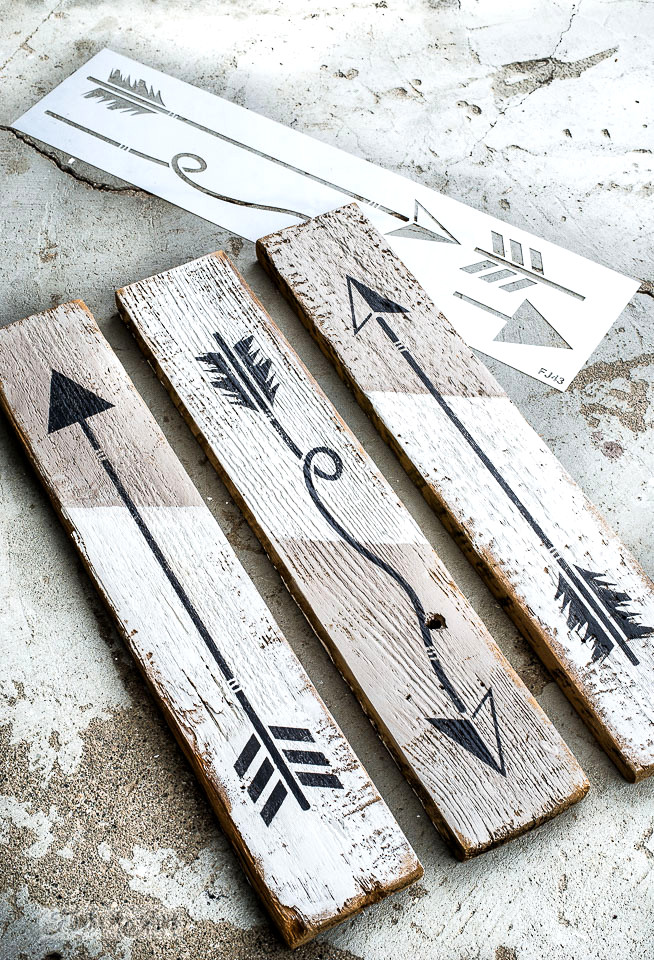 Create arrow signs to hang mugs or as art using an Arrow Kit stencil from Funky Junk's Old Sign Stencils and Fusion Mineral Paint