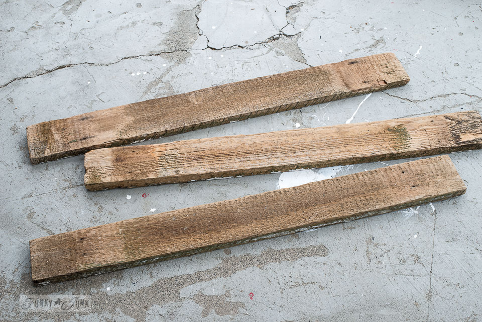 Reclaimed wood fence planks about to become cool arrow signs!