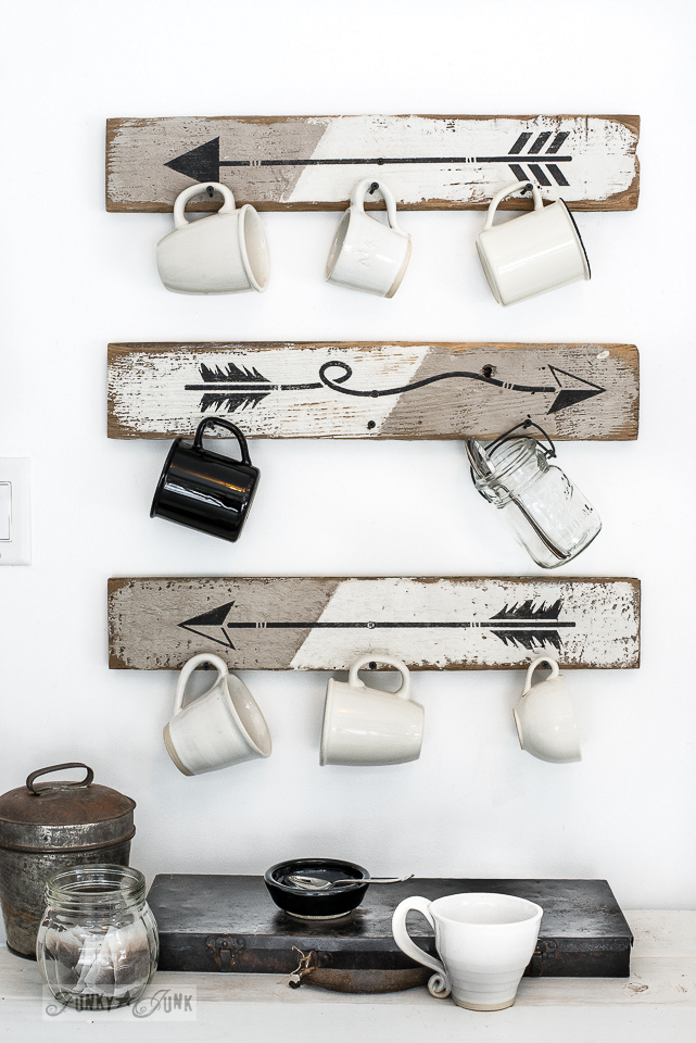 Make an instant coffee station with these rustic-modern arrow mug hooks made with an Arrow Kit stencil with Funky Junk's Old Sign Stencils and Fusion Mineral Paint. Click here to learn how!