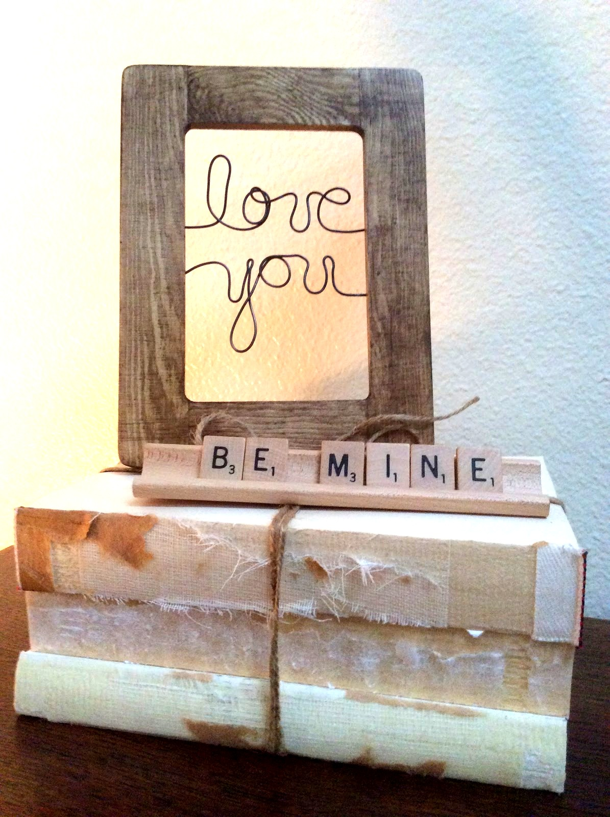 Valentine's Day twisted wire signs in frames by Fresh Vintage By Lisa S, featured on Funky Junk Interiors