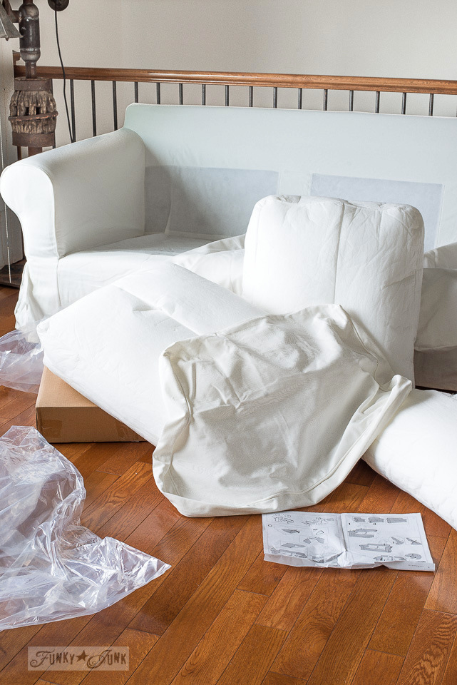 Putting on Vittaryd white slipcovers on the Ikea Ektorp 3.5 sofa. Click to learn how to put the entire sofa together!