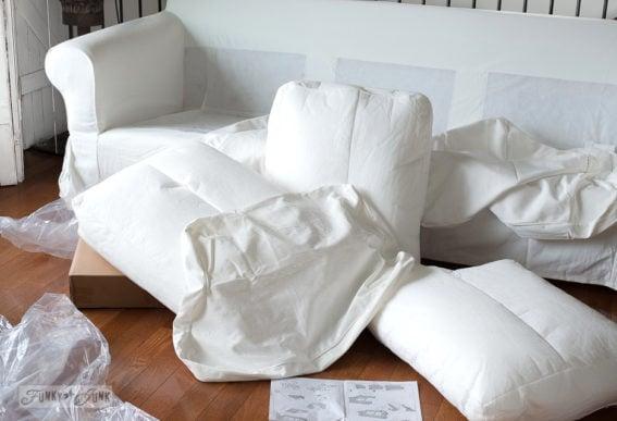 assembling an Ikea Ektorp 3.5 white slipcovered sofa-013