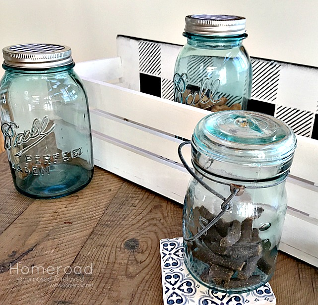 Vintage inspired mason jar and crate dog treat shelf by Homeroad, featured on Funky Junk Interiors