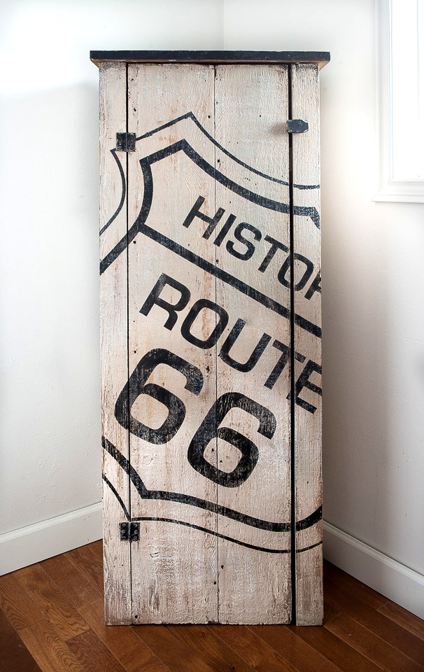 Rustic route 66 stenciled farmhouse cupboard