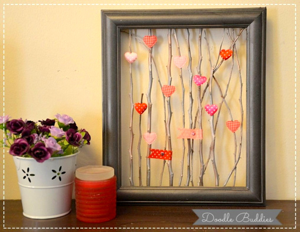 Twigs and hearts in a frame by Doodle Buddies, featured on Funky Junk Interiors