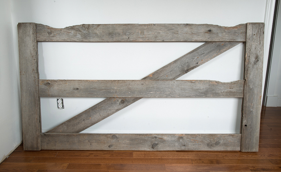 Rustic horse gate used for coat hooks and bedroom headboard that I sold.