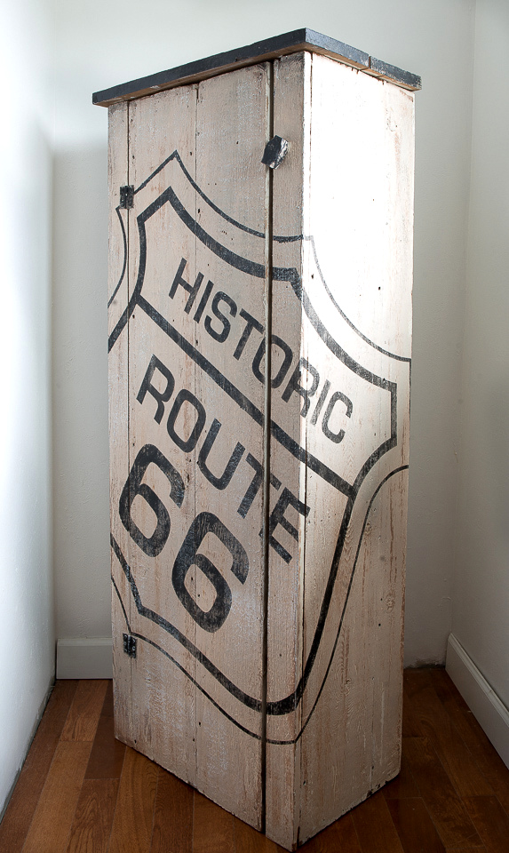 Historic Route 66 stenciled rustic barnwood storage cabinet
