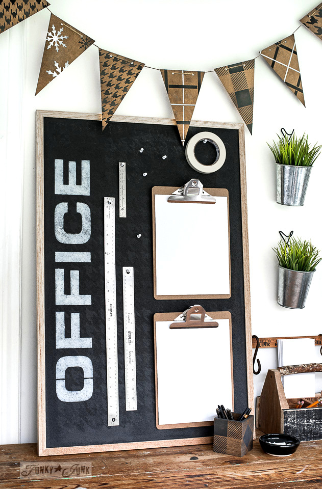 Learn how a bulletin board became an instant and productive Office helper with Funky Junk's Old Sign Stencils. Part of Funky Junk's favorite posts and junk projects of 2019.
