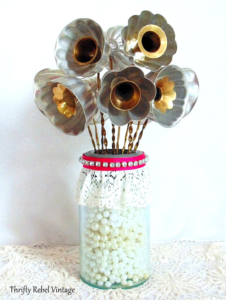 Jello mold flower bouquet by Thrifty Rebel Vintage, featured on Funky Junk Interiors