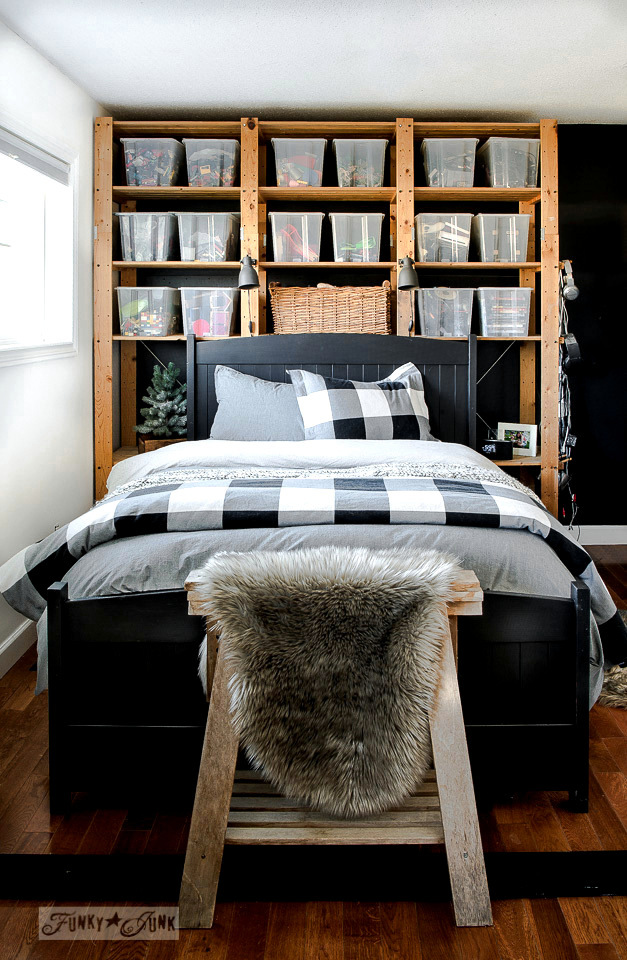 Take the tour of this boy's bedroom with a black wall, Ikea Gorm wooden floor-to-ceiling shelving filled with toy storage and a revamped headboard painted in Fusion's Coal Black. Part of - How to achieve a smooth finish on hand painted furniture. Click to read more.