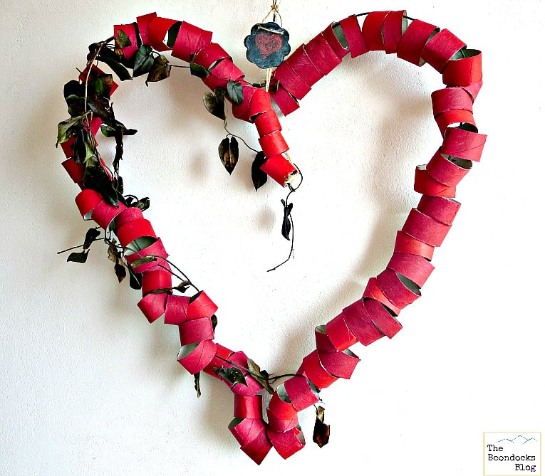 Red Valentine's Day heart made from toilet paper rolls by The Boondocks Blog, featured by Funky Junk Interiors