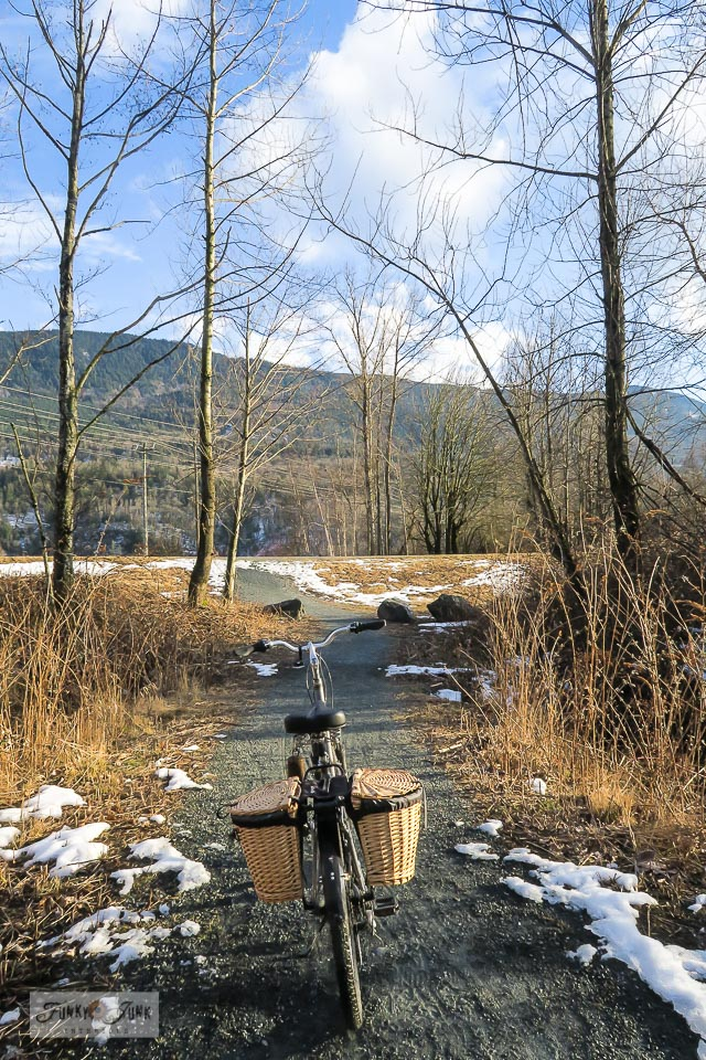 Winter bike ride on the Vedder River Rotary Trail in Chilliwack, BC Canada